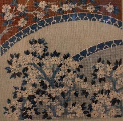 Blue japanese Porcelain and Flowers